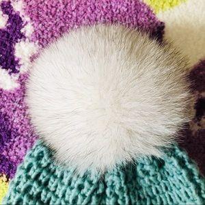 NWT Genuine Fox Fur Pompom Wool Blend Beanie